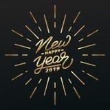 新年快乐2019年 金字法和烟花爆炸的假日例证 图库摄影