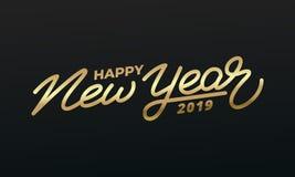 新年快乐2019年 金字法的假日例证 新年标签 库存照片