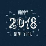 新年快乐2018手书面现代刷子字法 时髦手字法样式,海报的艺术印刷品,贺卡desig 免版税库存图片