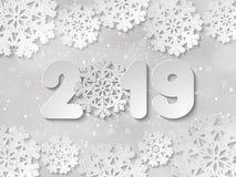 新年快乐2019纸被删去的传染媒介背景 免版税库存图片