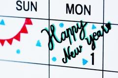 新年日历提示特写镜头 免版税图库摄影