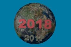 新年日期2018在2017年上 3d例证回报 免版税库存图片