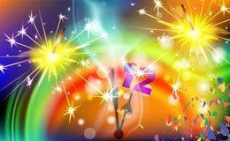 新年时钟和孟加拉火 在黑背景隔绝的闪烁发光物蜡烛 传染媒介光线影响 党烟花不可思议的光 免版税图库摄影