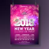新年晚会庆祝海报与3d 2018数字的模板在发光的五颜六色的背景的例证和烟花 免版税库存图片