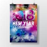 新年晚会庆祝海报与3d 2018文本和迪斯科球的模板例证在发光的五颜六色的背景 免版税库存照片