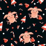 新年样式用小猪,甜点无缝在黑背景 皇族释放例证