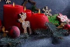 新年概念用饼干、灼烧的蜡烛和树枝在石背景 库存图片