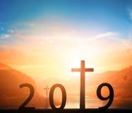 新年概念:新的目标,新的方向,在2019年新的希望 免版税库存图片