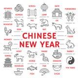 新年海报黄道带动物和中国象 向量例证
