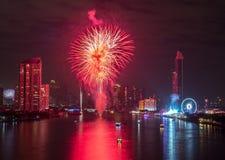 新年烟花在曼谷,泰国 免版税库存图片