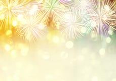 新年烟花背景和有拷贝空间 免版税库存照片