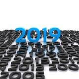 新年的到来在3D的- 2019年 免版税库存照片