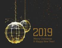 新年的圣诞节球,在光亮金黄丝带,仿照艺术装饰样式 几何金黄球形,以形式 向量例证