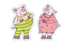 新年的多彩多姿的小猪标志 贴纸 皇族释放例证