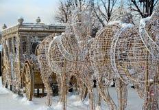 新年的设施在公园在莫斯科 免版税库存照片