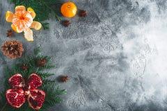 新年结构的可口石榴石,普通话 桂香和茴香在黑暗的背景 假日食物,拷贝空间 平的位置  图库摄影
