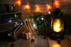 新年结构的圣诞树分支装饰了wi 免版税图库摄影