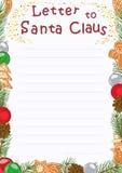 新年给圣诞老人的贺卡信件 也corel凹道例证向量 免版税库存图片