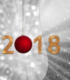 新年背景, 2018年与红色球的例证在银色背景 免版税库存照片