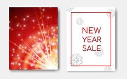 新年销售概念夜与火花闪烁发光,星爆炸、光线影响和白色圣诞节快乐的飞行物横幅 向量例证