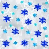 新年雪雪花,无缝的样式, 免版税库存照片