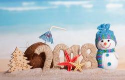 新年题字2018年,雪人,圣诞树,椰子与 免版税库存照片