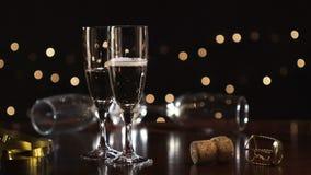 新年,倾吐的香槟,玻璃 股票视频