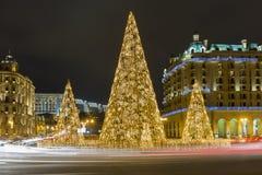 新年,在其中一个的圣诞树巴库市正方形  免版税库存图片