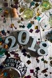 新年:与香宾的有角度的2018 NYE桌面 图库摄影