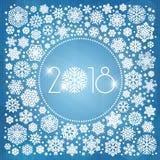 新年2018与白色雪花的传染媒介例证 免版税库存照片