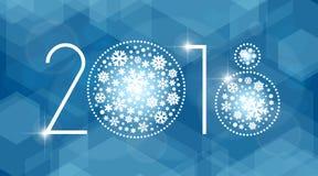 新年2018与白色雪花的传染媒介例证 免版税库存图片