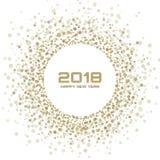 新年2018卡片背景 使用雪花五彩纸屑圈子的金子轻的半音圣诞节圈子框架加点纹理 皇族释放例证