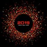 新年2019卡片背景 红色圈子明亮的迪斯科点燃半音框架 也corel凹道例证向量 皇族释放例证