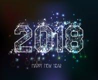 新年2018多角形线光背景 库存照片