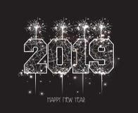 新年2019多角形线和烟花背景 免版税库存图片