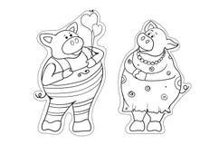 新年2019小猪的标志 贴纸 皇族释放例证