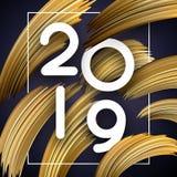 新年2019年与抽象金黄刷子冲程的贺卡 库存例证