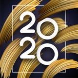 新年2020年与抽象金黄刷子冲程的贺卡 库存例证