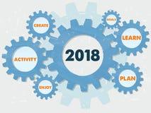 新年2018年和企业在难看的东西齿轮信息的构想词 库存例证