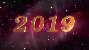 新年2019年打开的动画 库存例证