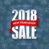 新年2018年销售徽章,标签,电视节目预告横幅模板 特价优待 库存例证