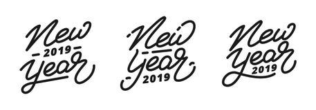 新年2019年 套手字法标签新年 库存照片
