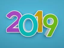 新年2019年- 3D回报了图象 免版税库存图片