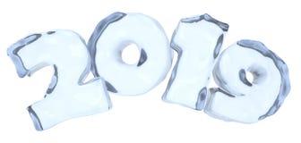 新年2019标志文本由清楚的蓝色冰制成 库存例证