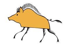 新年2019黄色公猪的标志传统化了 免版税库存图片