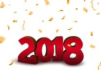 新年2018 3d与五彩纸屑的数字背景 2018个在白色的假日庆祝卡片金黄五彩纸屑 免版税库存照片