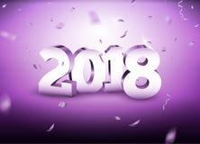 新年2018 3d变成银色与五彩纸屑的数字背景 2018个假日庆祝卡片在白色的银五彩纸屑 免版税库存图片