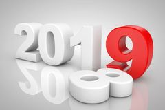 新年2019 3d标志 3d翻译 向量例证