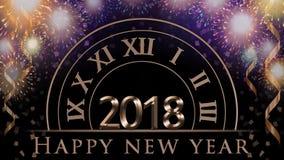 2018新年` s前夕例证,与五颜六色的烟花的卡片,时钟,党五彩纸屑,文本新年快乐 免版税库存照片