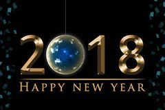 2018新年` s前夕例证,与党迪斯科球,金子在黑背景的新年快乐文本的卡片 免版税库存照片